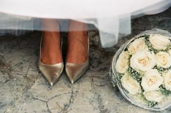 Brautschuhe Brautstrauß